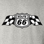 Route 66 Checkered Flag Graphic Heavy Cotton T-Shirt