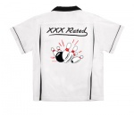 XXX Rated & Pin Splash A on White/Black Classic Bowler