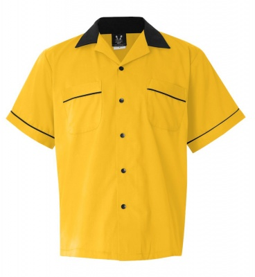 1950s Style Mens Clothing GoldBlack Legend 2244 2244 Button Up Bowling Shirt $34.95 AT vintagedancer.com