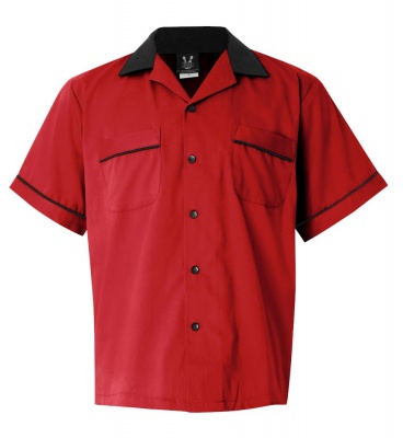 Red/Black Legend 2244 Button Up Bowling Shirt LARGE