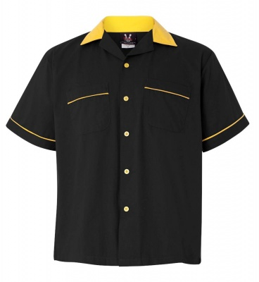 Black/Gold Legend 2244 Button Up Bowling Shirt