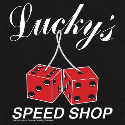 Button Up Legend 2244 Bowling Shirt With Lucky's Speed Shop on Back