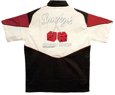 Button Up Pit Crew 2274 Racing Shirt With Luckys Speed Shop on Back $39.95 AT vintagedancer.com
