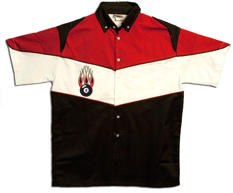Button Up Pit Crew 2274 Racing Shirt With Flaming 8 Ball Shop on Front $39.95 AT vintagedancer.com