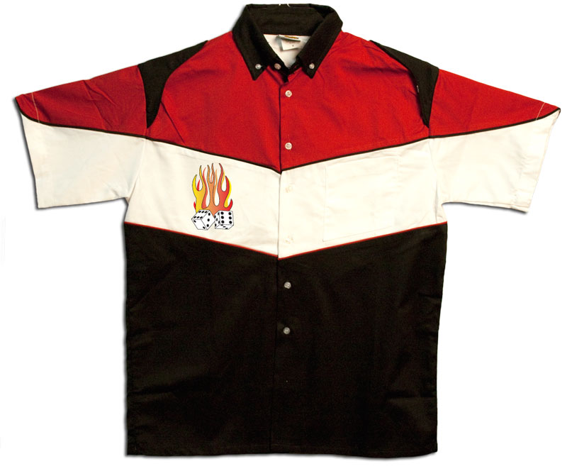 Button Up Pit Crew 2274 Racing Shirt With Flaming Dice Shop on Front $39.95 AT vintagedancer.com