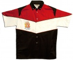 Button Up Pit Crew 2274 Racing Shirt With Flaming Dice Shop on Front