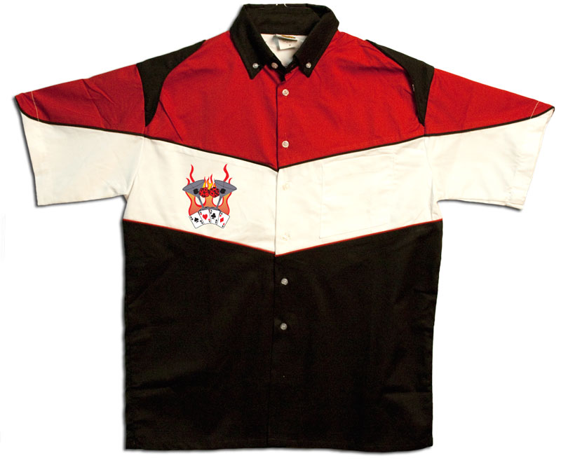 Button Up Pit Crew 2274 Racing Shirt With Flaming Martinis Shop on Front $39.95 AT vintagedancer.com