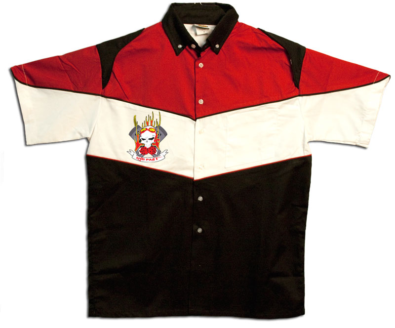 Button Up Pit Crew 2274 Racing Shirt With Flaming Pistons Shop on Front $39.95 AT vintagedancer.com
