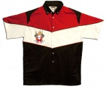 Button Up Pit Crew 2274 Racing Shirt With Flaming Piston's Shop on Front