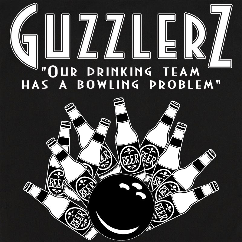 Button Up Legend 2244 Bowling Shirt With Guzzlers Beer Bottles