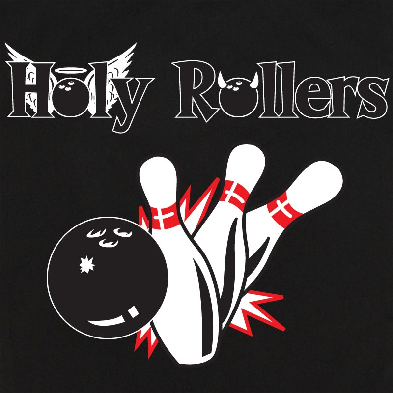 Button Up Rockaway 2248 Bowling Shirt With Holy Rollers w/ Pin Splash B