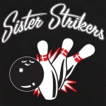 Button Up Rockaway 2248 Bowling Shirt With Sister Strikers w/ Pin Splash B