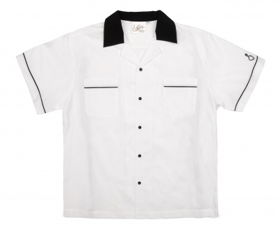 Special Clearance Price! White & Black Classic Button Up Bowling Shirt - Regular Price $29.95 - Now Only $16.95