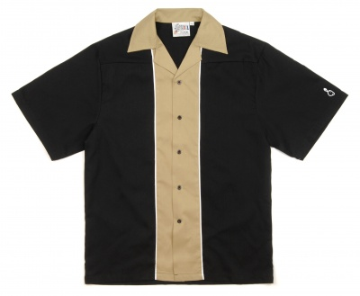 Special Clearance Price! Black & Khaki Swingmaster 50's Style Bowling Shirt - Regular Price $29.95 - Now Only $16.95