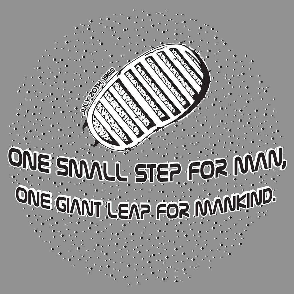 One Small Step For Man Graphic Heavy Cotton T-Shirt