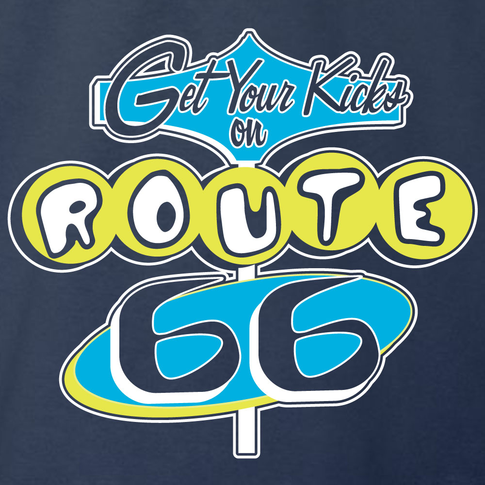 Retro Route 66 Sign Graphic Heavy Cotton T-Shirt