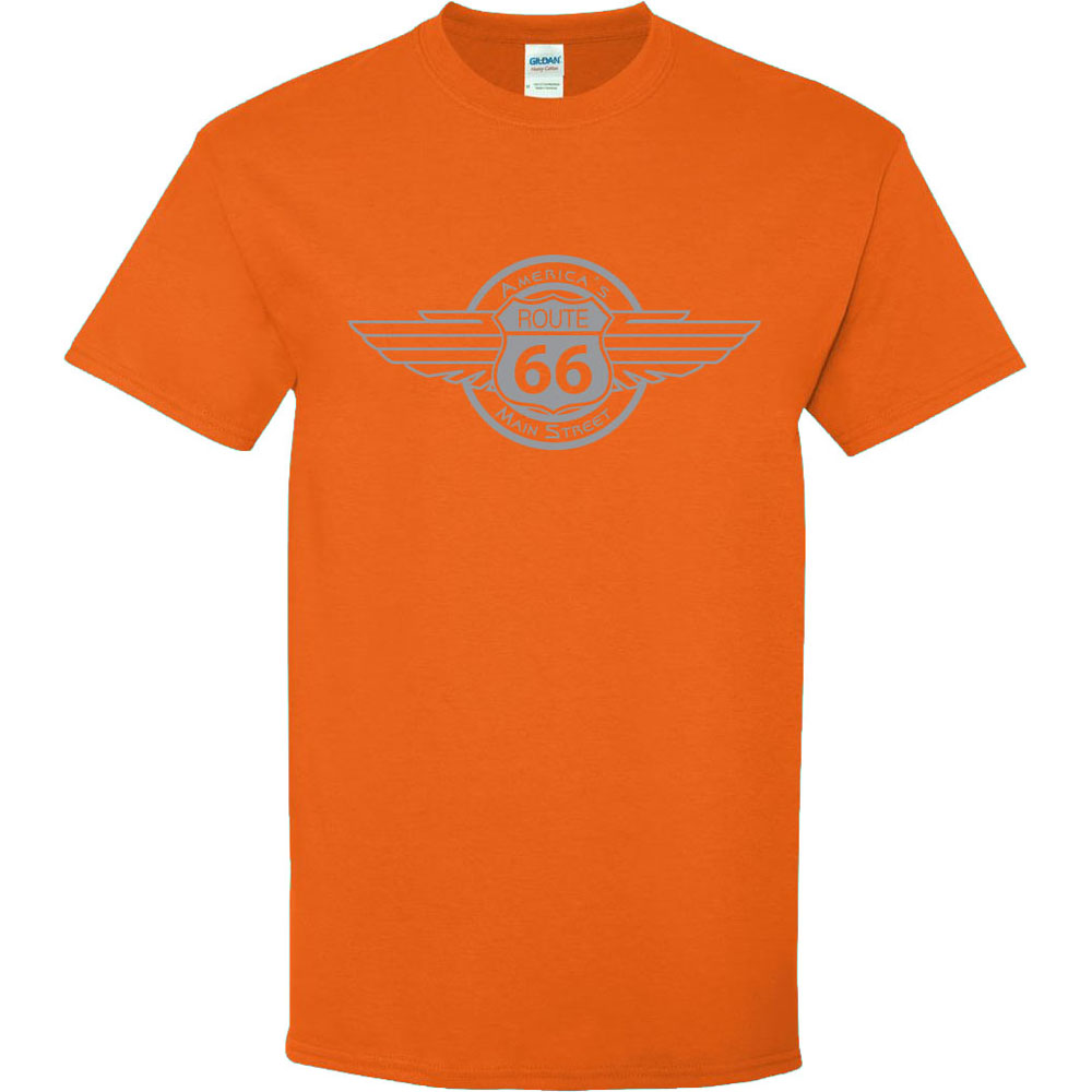Route 66 Wing Emblem Graphic Heavy Cotton T-Shirt