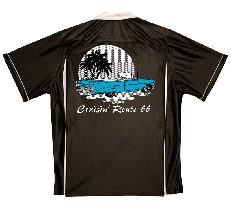 1950s Style Mens Shirts Route 66 Cruisin Stock Print on 50s Style Bowling Shirts $34.95 AT vintagedancer.com