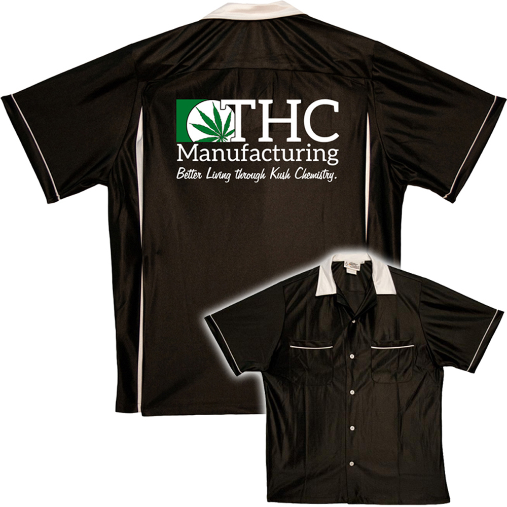 THC Shirt:  Pot Shirt - Classic Bowler - Black & White - MD
