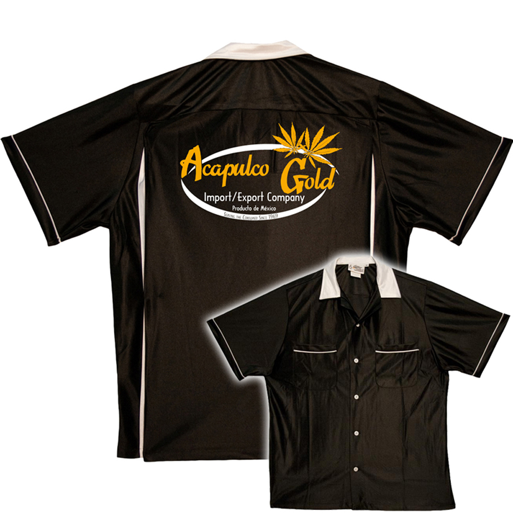 Acapulco Gold:  Pot Shirt - Classic Bowler - Black & White - SM