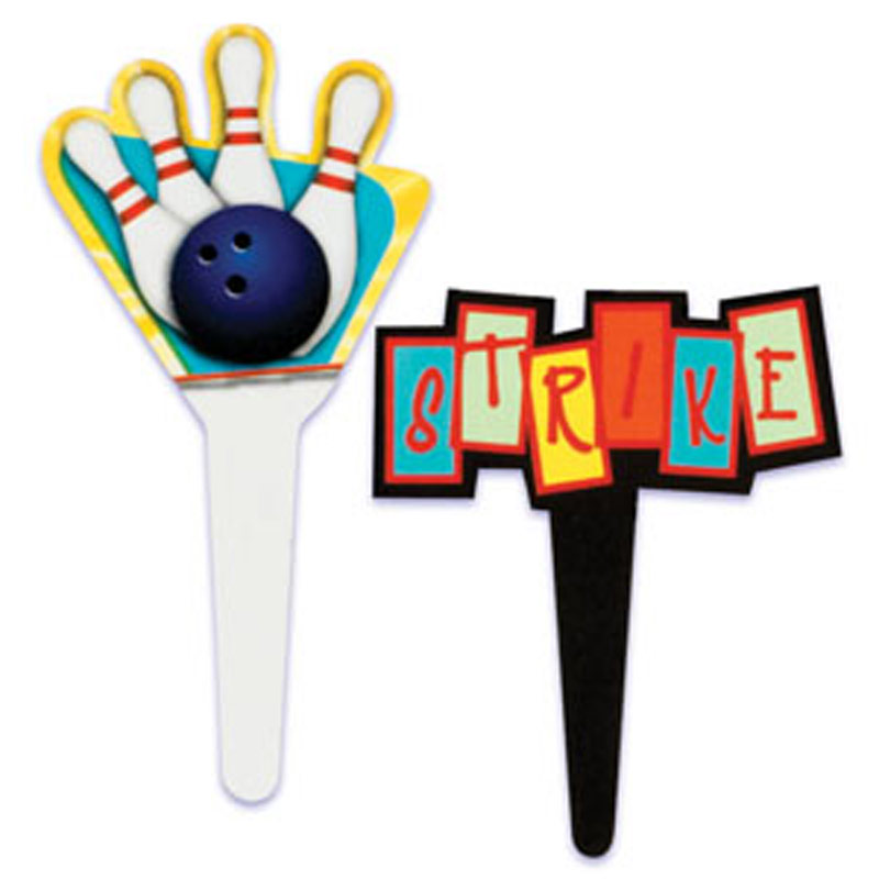 Bowling Cup Cake Picks (Pack of 12)