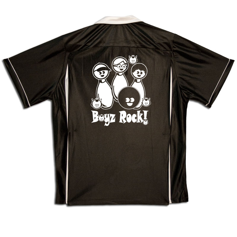 Boyz Rock Stock Print on Youth Bowling Shirts