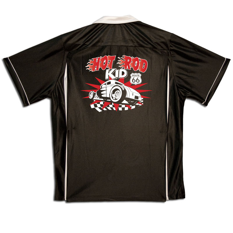 Hot Rod Kid Stock Print on Youth Bowling Shirts