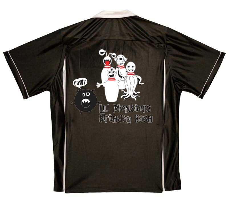 Lil Monsters Birthday Bash Stock Print on Youth Bowling Shirts