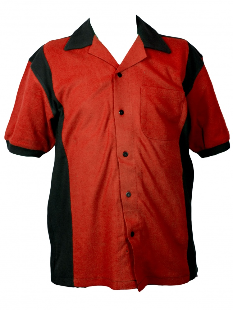 1950s Style Mens Shirts Hilton Deuce Retro Bowling Shirt - Red and Black $34.94 AT vintagedancer.com