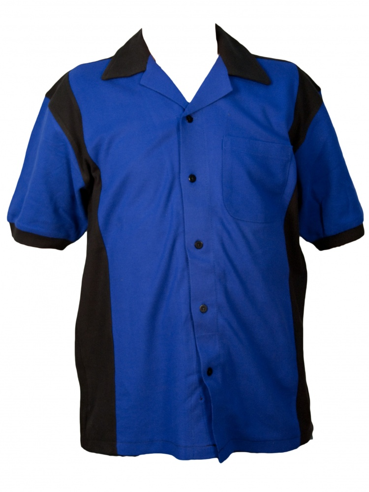 Hilton Deuce Retro Bowling Shirt - Royal and Black