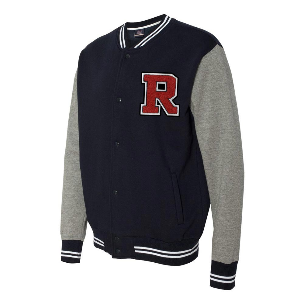 1950s Men's Jackets Varsity Sweatshirt Jacket with Chenille Letter - 2369 $52.95 AT vintagedancer.com