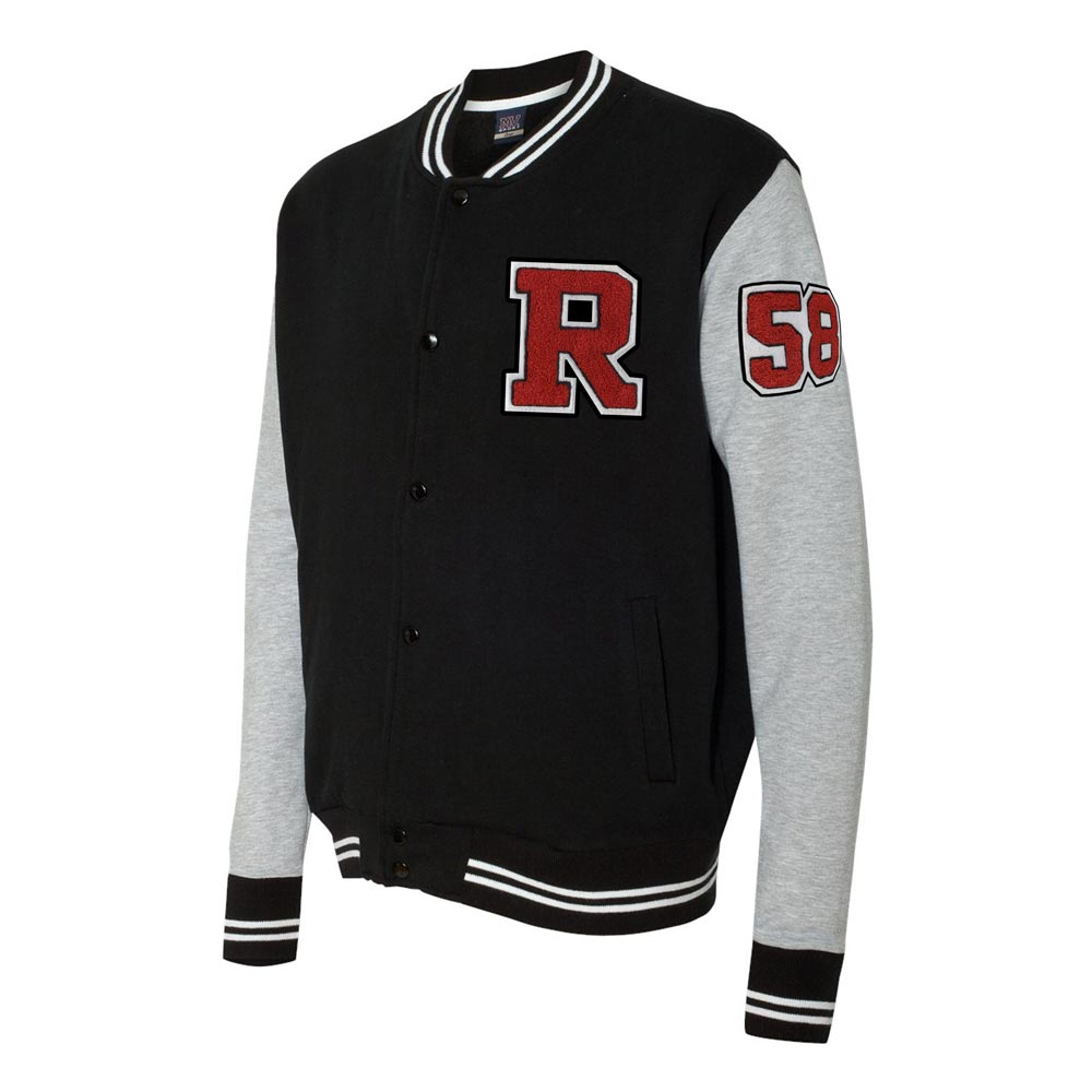 Varsity Sweatshirt Jacket with Chenille Number & Letter - 2369