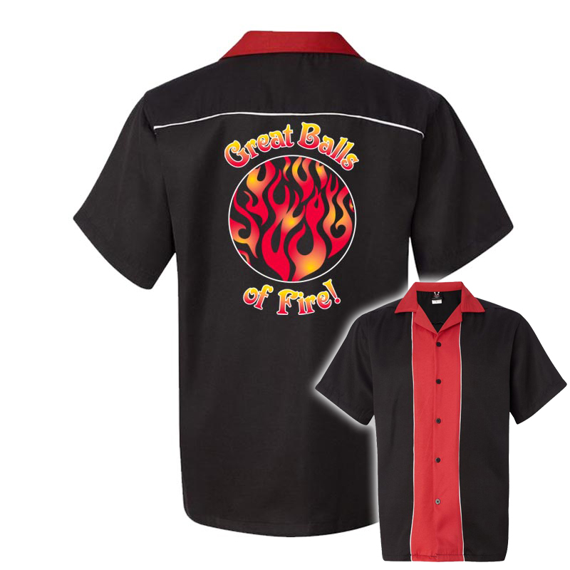 Great Balls of Fire Stock Print on 50's Style Bowling Shirts