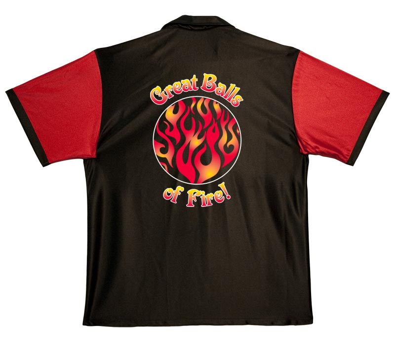 Great Balls of Fire Stock Print on Retro Bowler