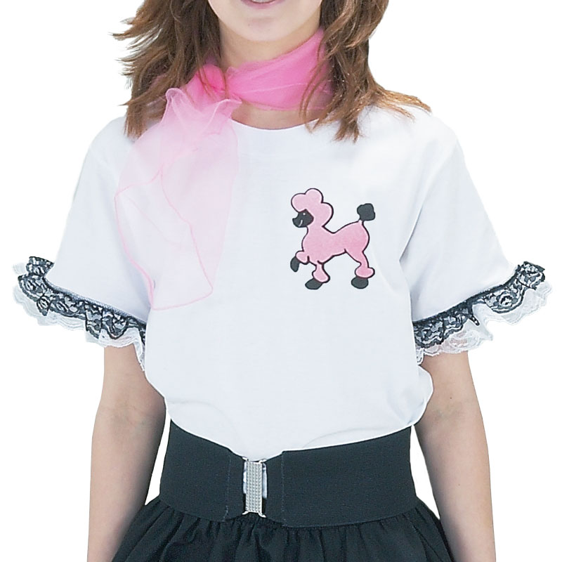 - White T-Shirt with Pink/Black Poodle - XS