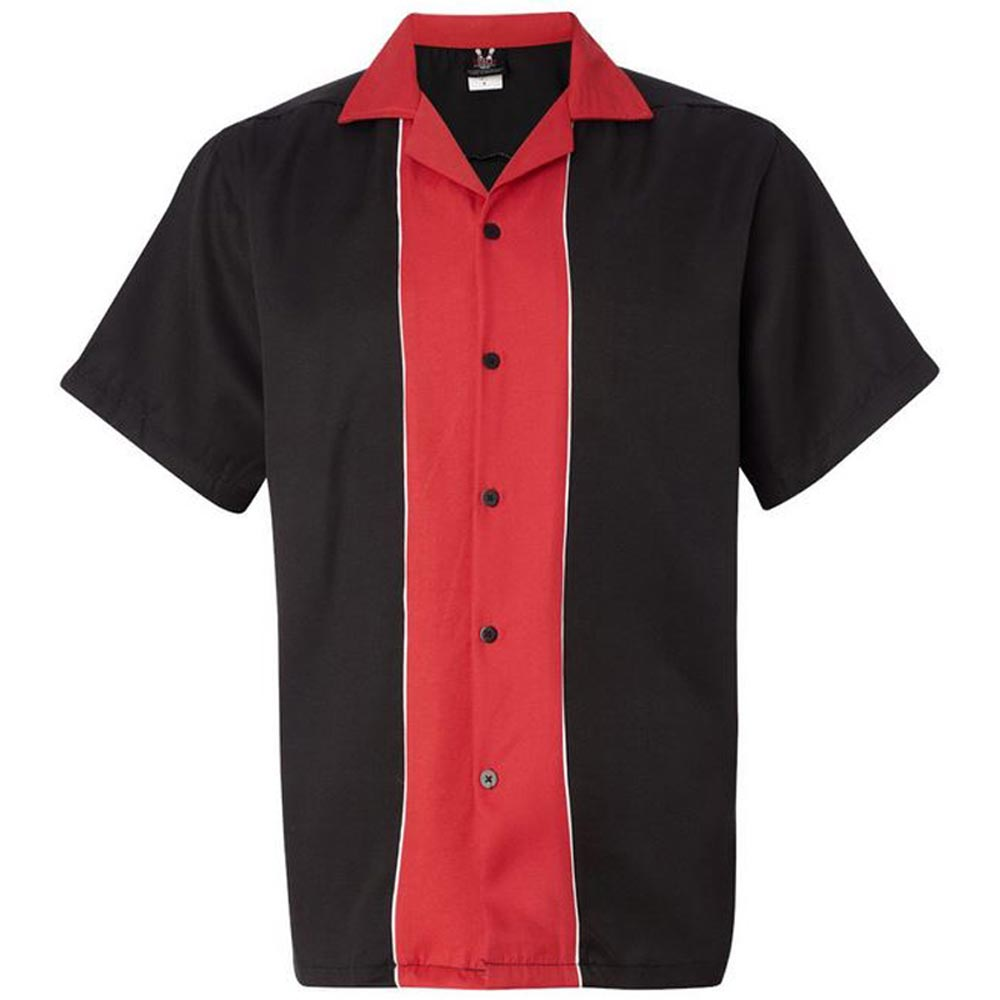 1950s Men's Clothing Swing Master 2.0 Bowling Shirt - Black & Red $34.95 AT vintagedancer.com
