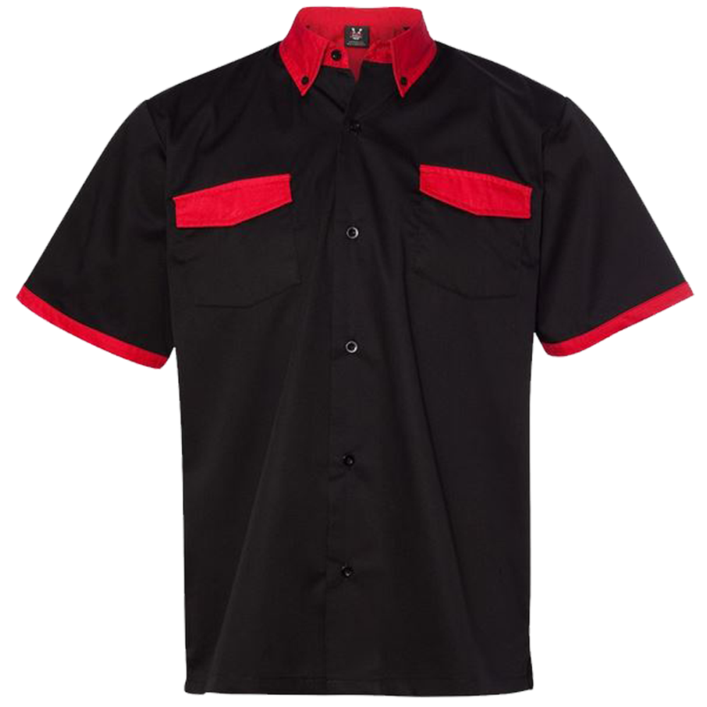 Anchor Man Bowling Shirt - Black & Red