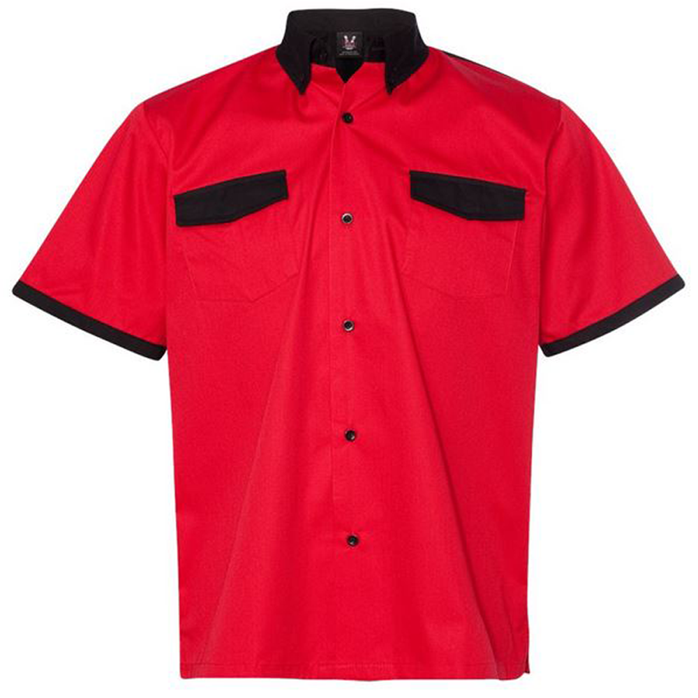 Anchor Man Bowling Shirt - Red & Black