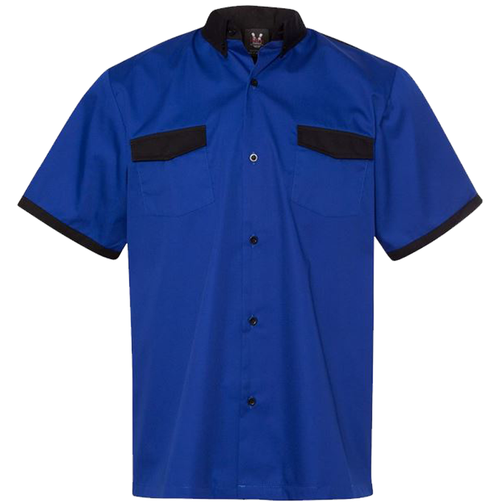 Anchor Man Bowling Shirt - Royal & Black