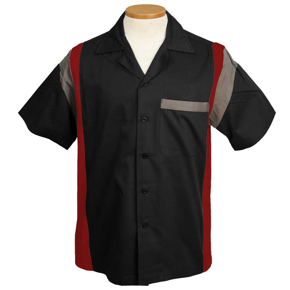 Jersey Side Bowling Shirt - Black/Red/Grey