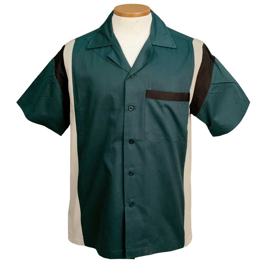 Jersey Side Bowling Shirt - Jade/Khaki/Black