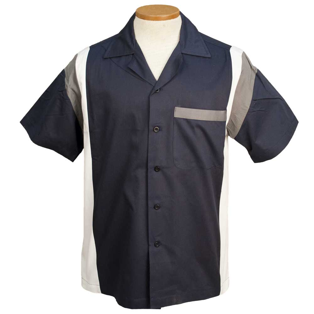 Jersey Side Bowling Shirt - Navy/White/Grey