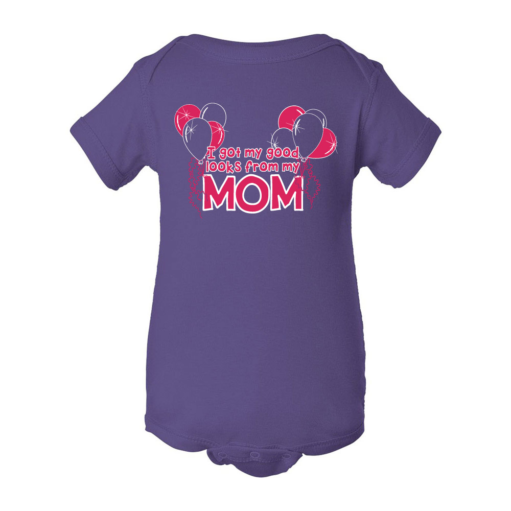 I got my good looks... MOM Graphic Bodysuits for Baby