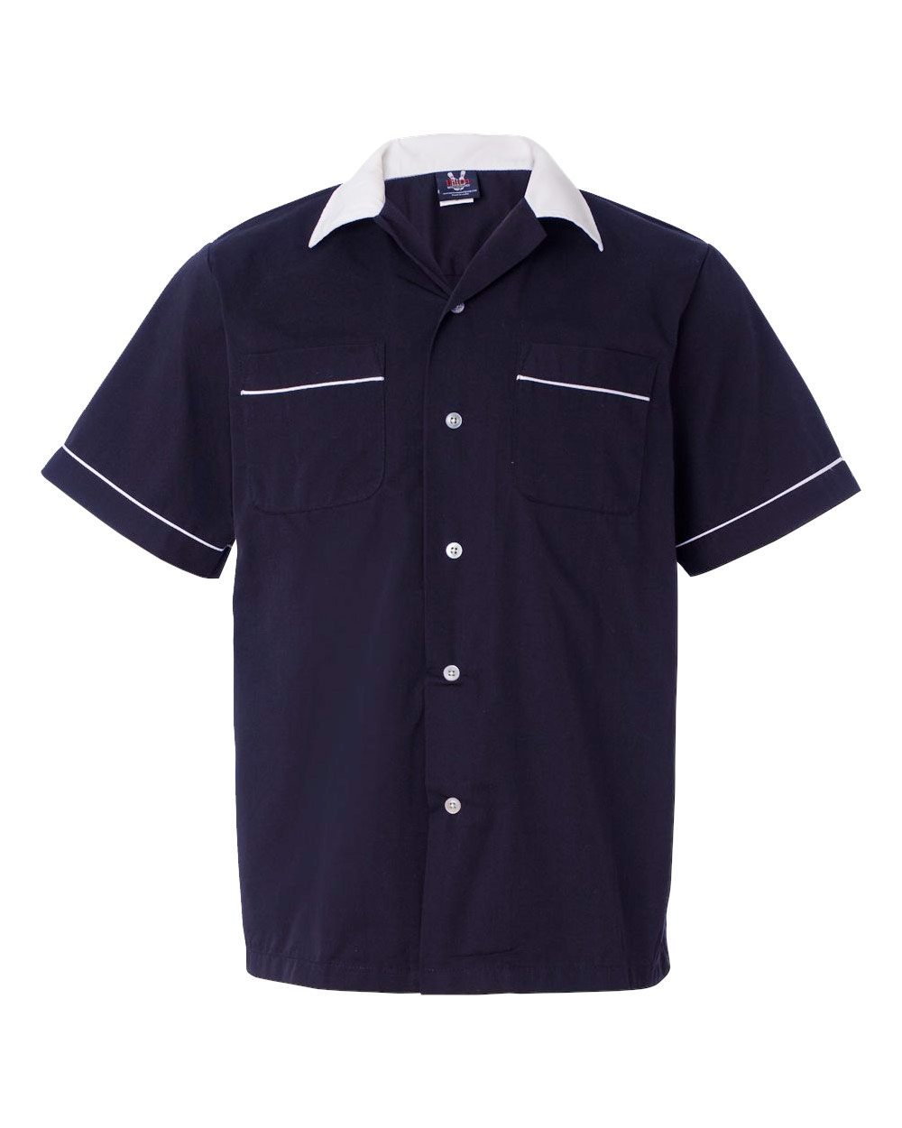 1950s Style Mens Shirts Classic Bowler 2.0 Bowling Shirt - Navy  White $39.95 AT vintagedancer.com