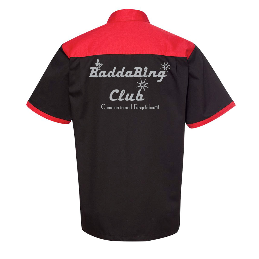 Badda Bing Club Stock Print on Anchor Man Bowling Shirt