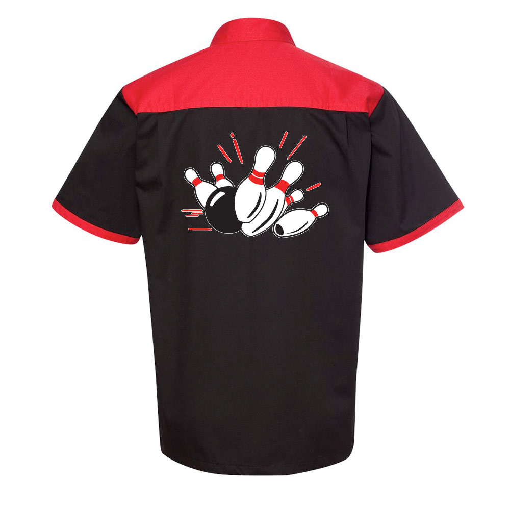 Pin Splash A Stock Print on Anchor Man Bowling Shirt
