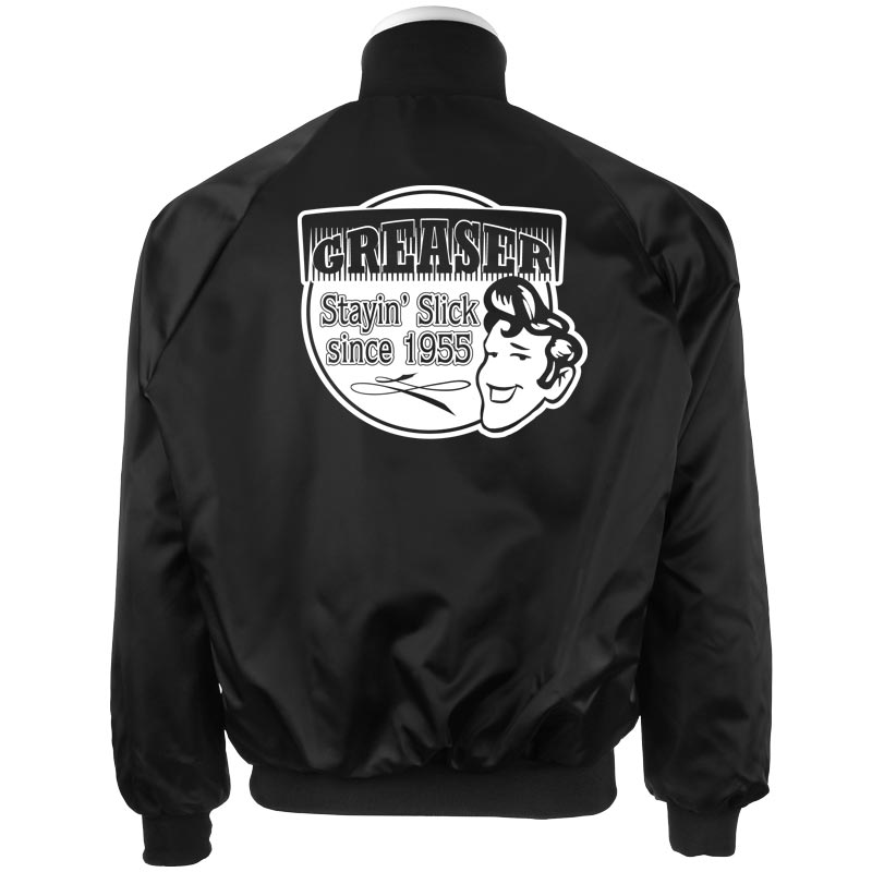 Men's Vintage Style Coats and Jackets Black Satin Jacket Greaser Printed $54.95 AT vintagedancer.com