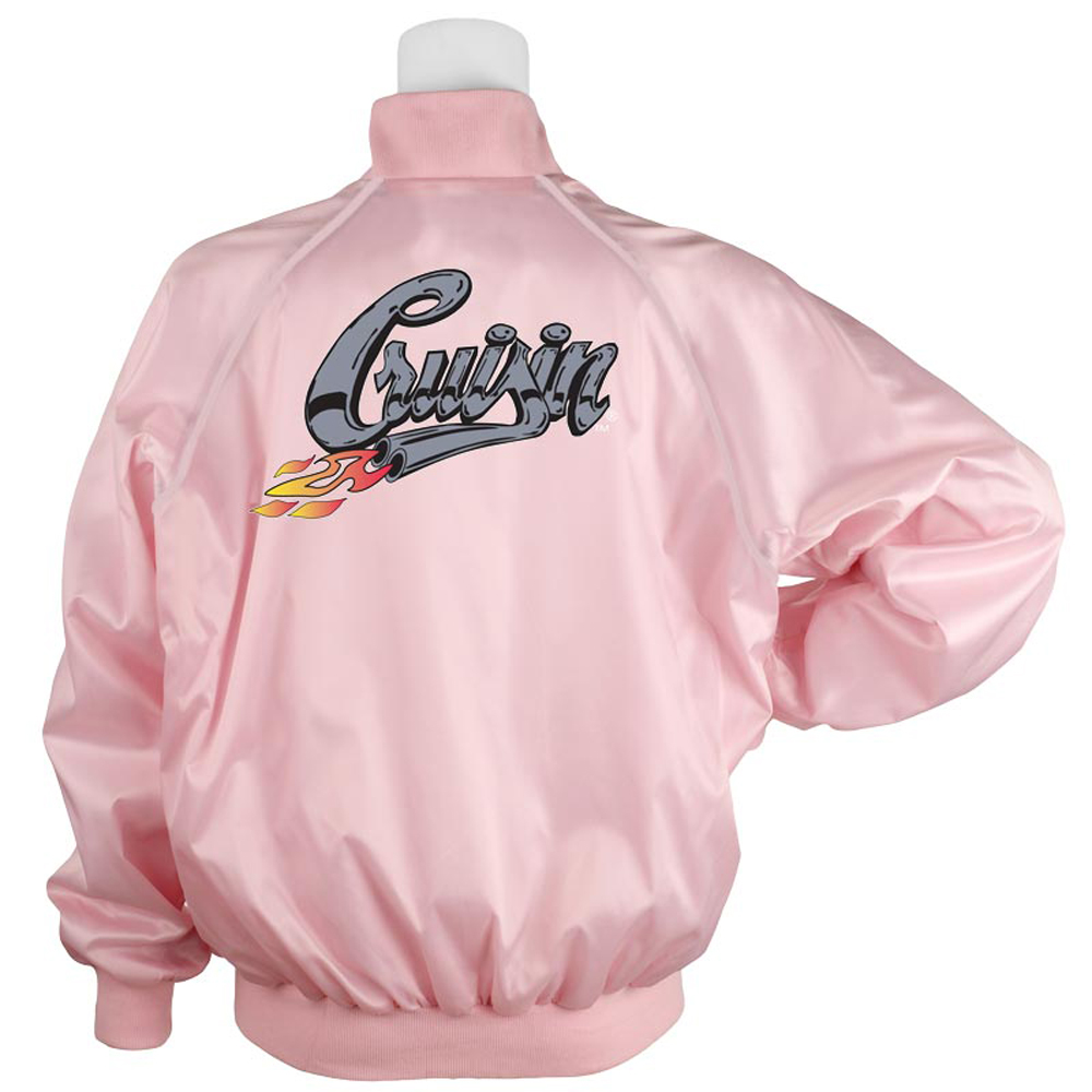 1950s Costumes- Poodle Skirts, Grease, Monroe, Pin Up, I Love Lucy Pink Satin Jacket Cruisin Printed $54.95 AT vintagedancer.com