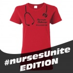 SMYS #Nurses Unite Ladies' Cotton Missy Fit T-Shirt - Red