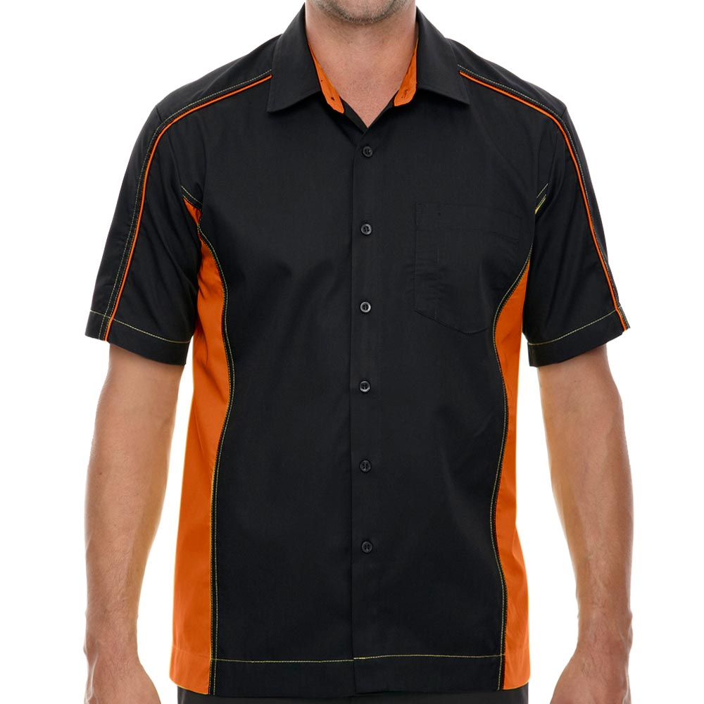 Black & Orange Muckler Bowling Shirt